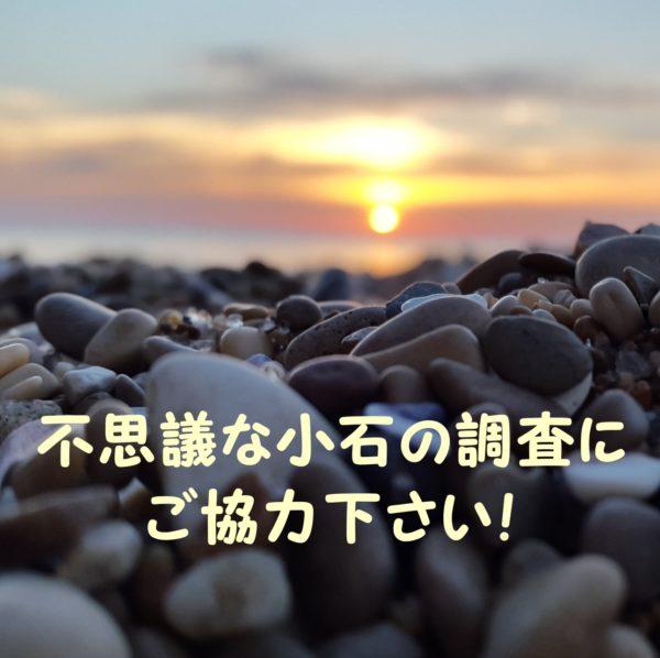 「不思議な小石の調査にご協力下さい!」と書かれた礫浜と夕日の写真。